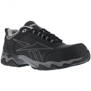 Reebok Work Men's Beamer Composite Toe Athletic Oxford Sneaker, Black/grey